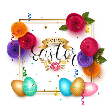 golden egg: Easter background with gold frame colorful flowers eggs. Illustration