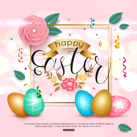 Pink Easter background with paper rose flower, ribbon, egg and confetti. Vector illustration