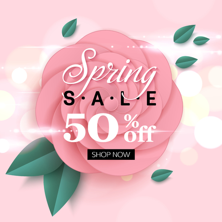 Spring sale banner with delicate pink flowers. Vector illustration.