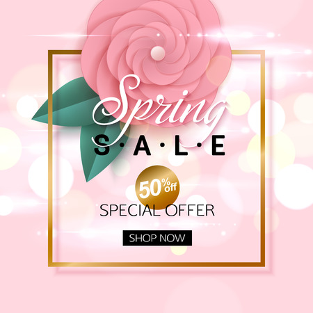 rosy: Vector spring sale banner design with rosy flowers. Vector illustration.