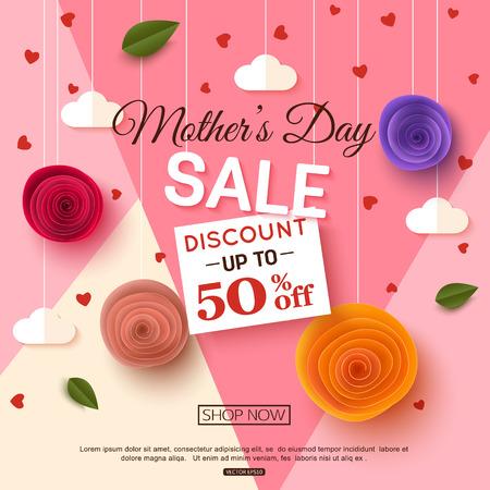 Moeders dag verkoop banner sjabloon, vector illustratie Stock Illustratie