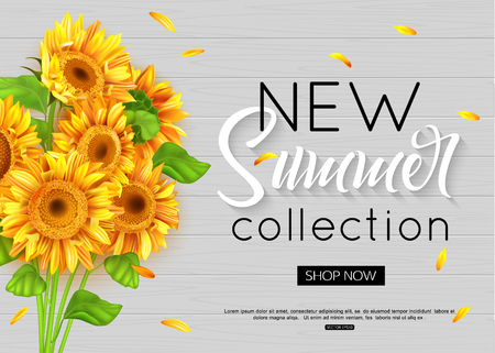 夏のオンライン ショッピングのための現実的なヒマワリとバナー広告アクション、雑誌、ウェブサイト。ベクトルの図。  イラスト・ベクター素材