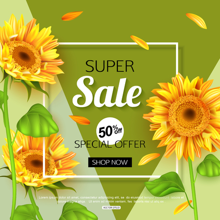 flower layout: Summer sale banner template with sunflower, vector illustration