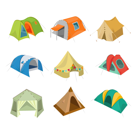 bivouac: Set of camping tent icon. Vector illustration with tourist bivouac isolated on white background.