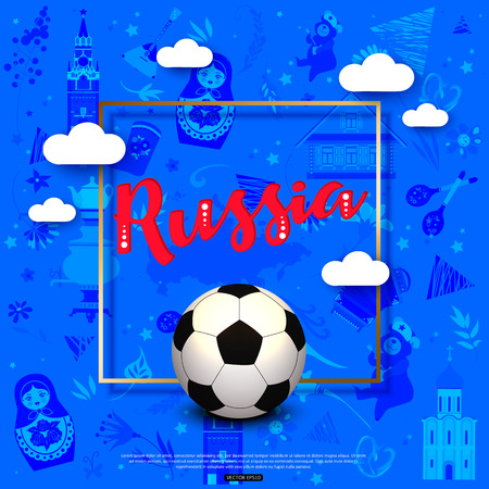 Football background with the Russian national symbols for sports banners, posters.