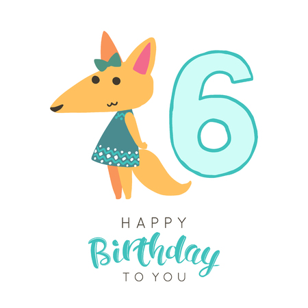 Vector illustration of greeting card with happy birthday to you words and cute fox in dress dedicated to sixth birthday.