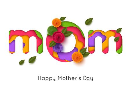 Tarjeta de felicitación feliz del día de madres con las flores color de rosa del papel. Ilustración vectorial