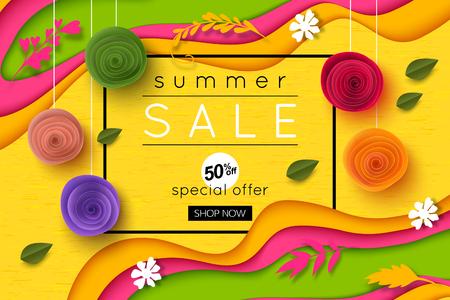 Sommer Verkauf Hintergrund Papier Kunst Stil für Banner, Poster, Werbung, Website, Online-Shopping, Werbung Standard-Bild - 79809814