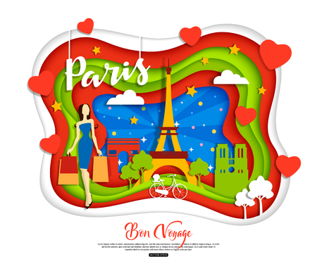 Paris, France. Travel and tourism concept with woman shopping, landscape, night sky, sights. Cut paper style, vector illustration.