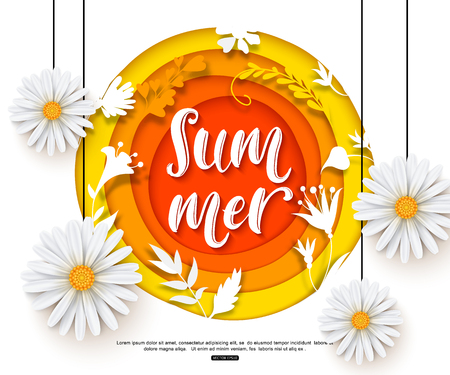 Summer background with realistic daisies and paper flowers. Vector illustration cut style