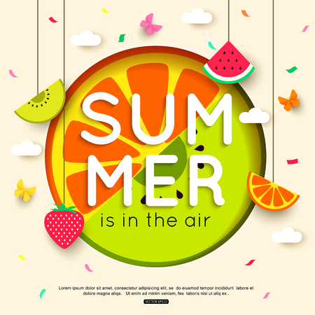 Summer background with hanging fruit, berry, paper butterfly, clouds. vector illustration Illustration