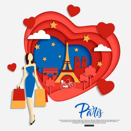 Paris, France. Travel and tourism concept with woman shopping, landscape, night sky, sights.