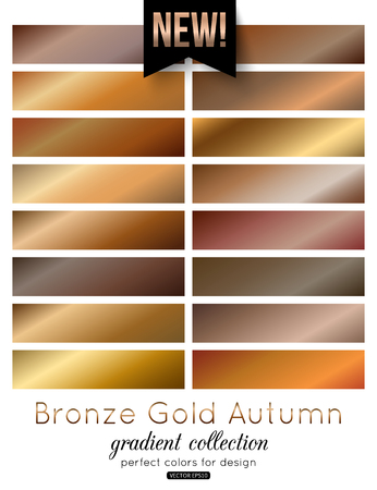 streak plate: Bronze, Gold Gradient Collection. Autumn color palette, vector illustration.