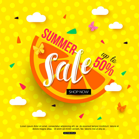 half price: Sale banner with juicy slice of orange on colorful background. Vector illustration