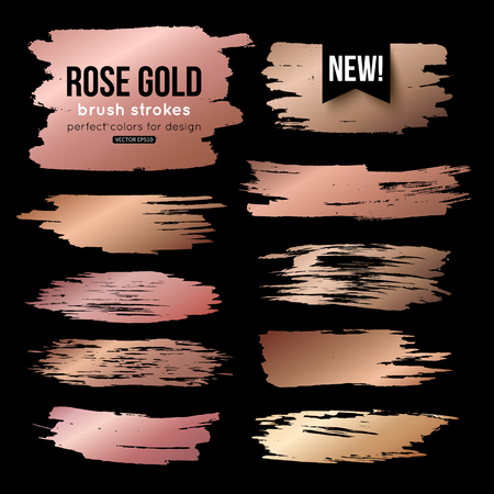 Grunge gold ink brush strokes vector collection Çizim