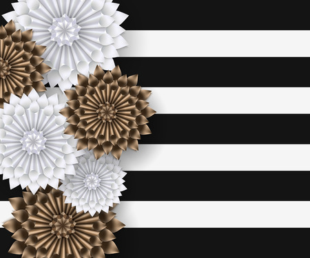 stripy: White and gold paper flowers on striped background. Vector illustration.