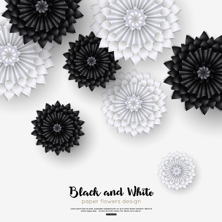 Happy birthday greeting card black and white paper flowers. Vector illustration eps 10 format.