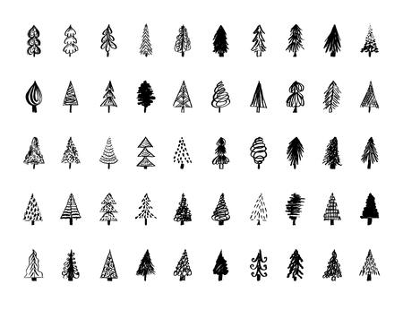Set of hand drawn Christmas tree icons. Vector illustration