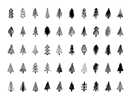 Set of hand drawn Christmas tree icons. Vector illustration