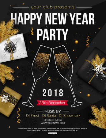 Happy New Year Party Flyer Template With Glasses Of Champagne ...