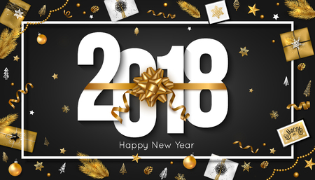 New Year 2018 greeting card decorate gift box serpentine gold balls stars branch and cone. Vector illustration. Standard-Bild