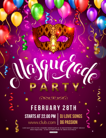 Carnival party invitation poster with masquerade gold mask colorful balloons and confetti vector illustration. Illustration