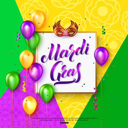 Mardi Gras Carnival mask background with lettering text balloons colorful confetti and serpentine. Vector illustration