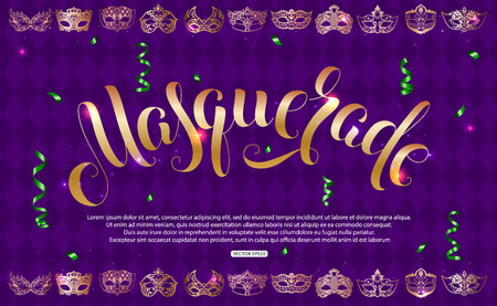 Purple masquerade background vector illustration.