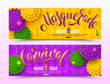 Colorful masquerade carnival banner design for Mardi Gras vector illustration.