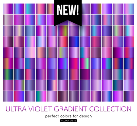 Trend purple metal gradients collection. Ultra violet texture swatches, vector illustration.