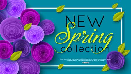 New Spring Collection background decorated ultra violet paper rose flowers. Vector illustration Ilustração