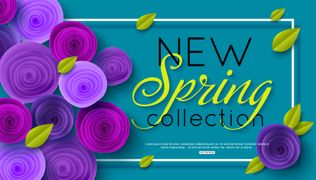 New Spring Collection background decorated ultra violet paper rose flowers. Vector illustration Illustration