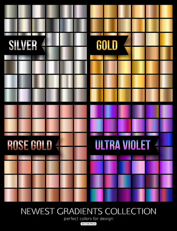 Set of ultra violet, gold and silver gradient collection. Vector illustration