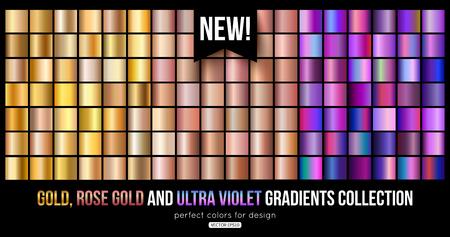 Trend ultra violet, gold, bronze metal gradients collection. Vector illustration