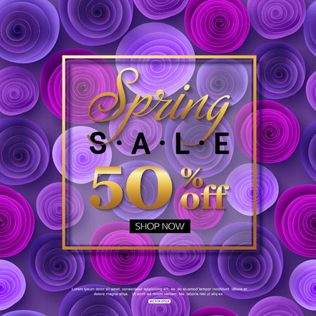Spring sale background with ultra violet paper rose flowers. Season discount banner design for online shopping.