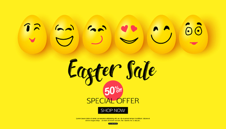 Wielkanocna sprzedaż tło z kreskówka uśmiechnięte jaja twarze na baner ilustracji wektorowych plakat