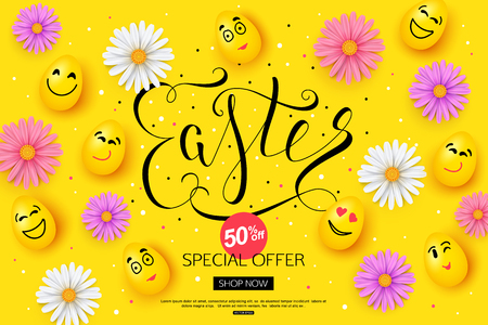 Easter Sale Banner design with colorful spring chamomile flowers and face of eggs. Vector illustration