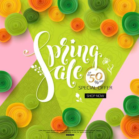 Spring sale background with green paper flowers for banner, poster, online shop Illustration