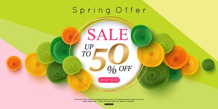 horizontal spring sale banner design vector illustration Illustration
