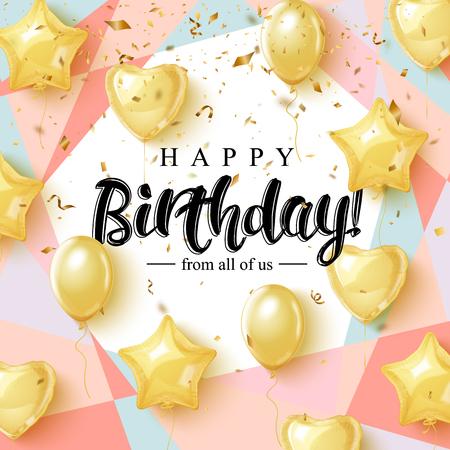Diseño de tipografía de celebración de feliz cumpleaños para tarjeta de felicitación, póster o pancarta con globos de oro realistas y confeti que cae. Ilustración de vector