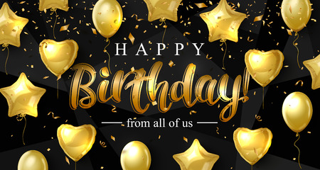 Birthday background with gold balloons in the form of heart and star, vector illustration