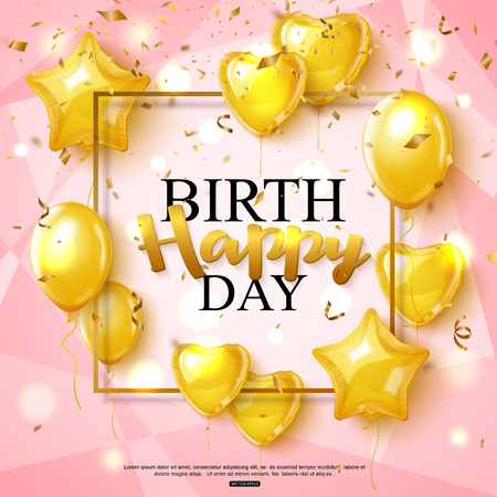 Birthday greeting card on shiny pink background with golden balloon, vector illustration