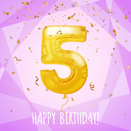 Tarjeta de felicitación del quinto cumpleaños globo dorado y confeti, ilustración vectorial Ilustración de vector
