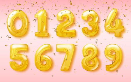 お祝いパーティーのデザインのための数字の形でベクトルの誕生日バルーン