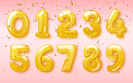 Vector birthday balloon in the shapes of numbers for celebration party design  イラスト・ベクター素材
