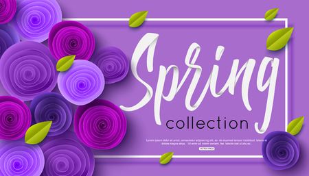Spring fashion banner with handwritten calligraphy inscription and origami paper flowers for online shopping.