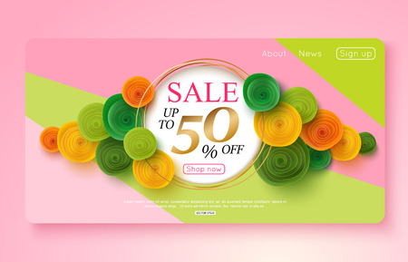 Colorful sale banner decorated with paper flowers vector illustration design