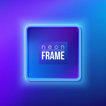 Blue neon frame, signboard. Vector illustration