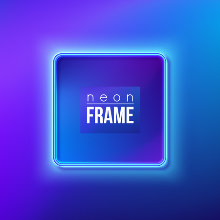 Blue neon frame, signboard. Vector illustration