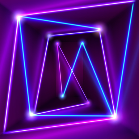 Abstract purple room interior with blue neon lights. Glowing lines background. Vector 3d illustration Illustration